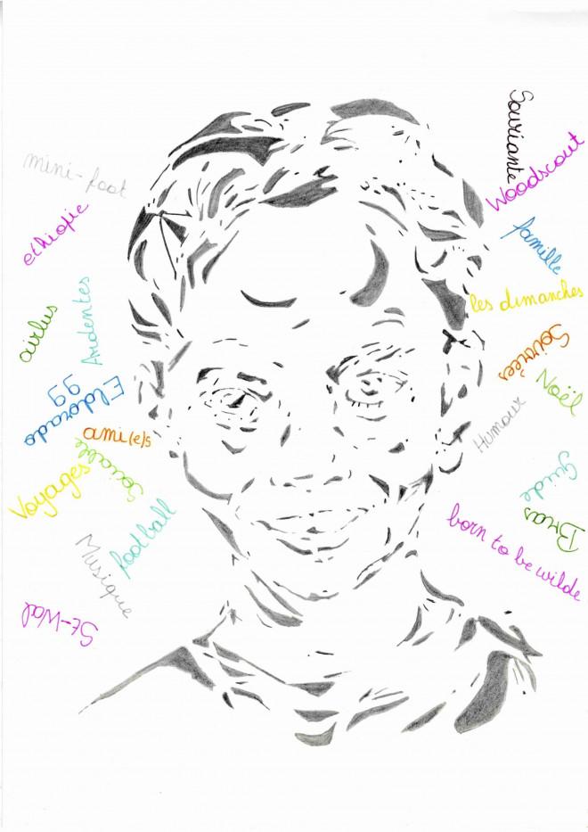 Une série d'autoportraits réalisés dans le cadre du cours d'arts d'ex. Les élèves avaient la liberté du choix des matériaux et cette réalisation s'accompagnait d'une présentation orale de leur travail.